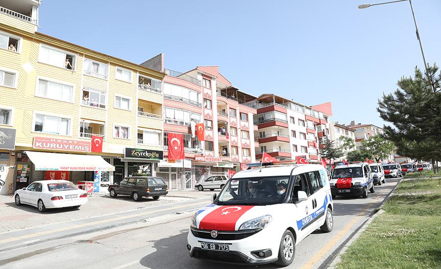 Etimesgut'ta Konvoylu 19 Mayıs Coşkusu